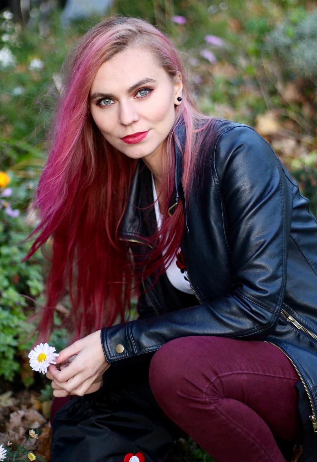 blog s outfitmi, ružové vlasy, jesenná móda