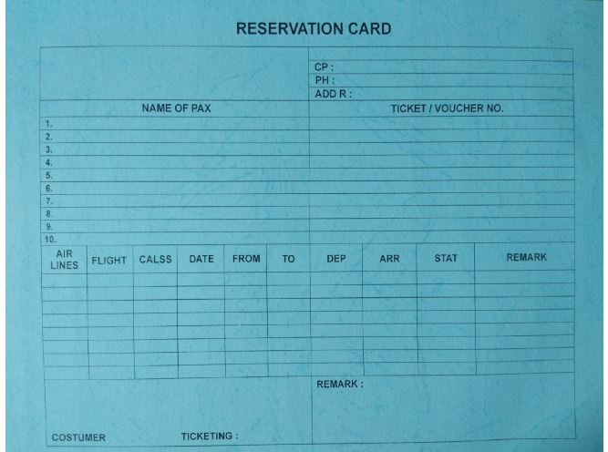 Rahmadewischool Reservation Card