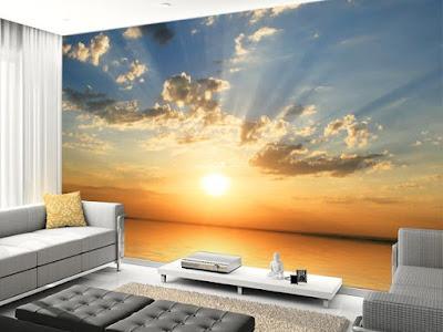 vardagsrum tapet solnedgång fototapet hav sunset moln fondtapet vardagsrummet