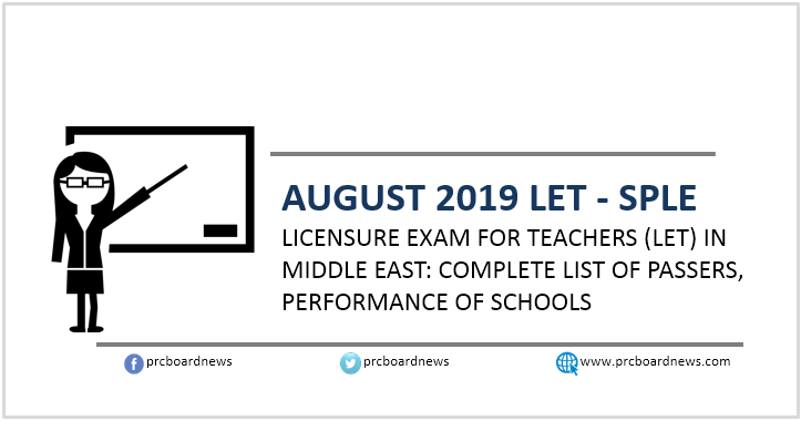 LET Result: August 2019 Teachers board exam SPLE passers