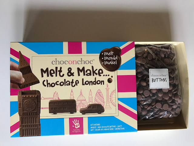 An opne box of Melt & Make... Chocolate London showing the chocolate chips