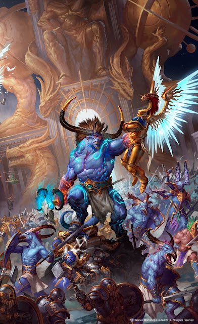 Warhammer age of sigmar artwork ilustration from battletome disciples of tzeentch ogroid versus stormcast eternals
