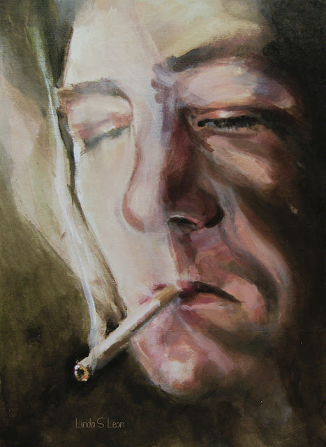 """Smoke signals - A man smoking a sigaret,  painted by Linda S. Leon -  """"Smoking calms me down. It's enjoyable. I don't want politicians deciding what is exciting in my life.""""  David Hockney"""