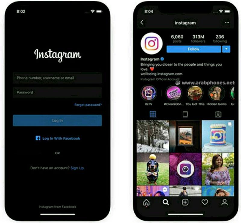 الوضع المُظلم يصل الى تطبيق انستقرام على أندرويد 10 و iOS 13