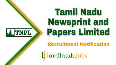 TNPL Recruitment notification 2020, govt jobs for diploma, govt jobs for ITI, govt jobs for engineers