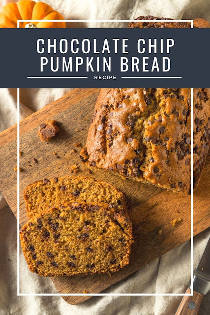 How to make chocolate chip pumpkin bread from scratch. This pumpkin recipe is gret for dessert or as a snack. Use fresh or canned pumpkin for this best moist homemade bread. This recipe also makes mini loaves and muffins.  Also includes directions for using whole wheat flour or applesauce to make it healthier.  Make it with nuts or without. #pumpkin #bread #chocolate #chocolatechip #recipe