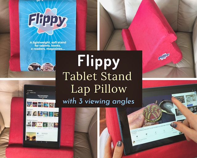 "Photo collage of Flippy lap pillow stand overlaid with text box, ""Flippy Tablet Stand Lap Pillow with 3 viewing angles"""