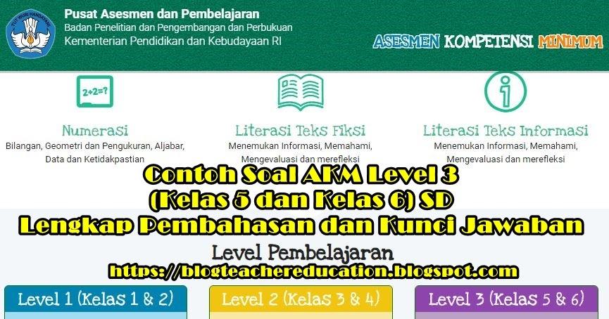 Contoh Soal Akm Level 3 Kelas 5 Dan Kelas 6 Lengkap Dengan Pembahasan Dan Kunci Jawaban Blog Teacher Education