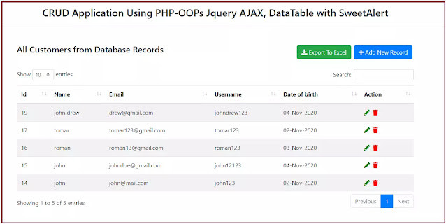 Insert and view data using php oops with jquery ajax