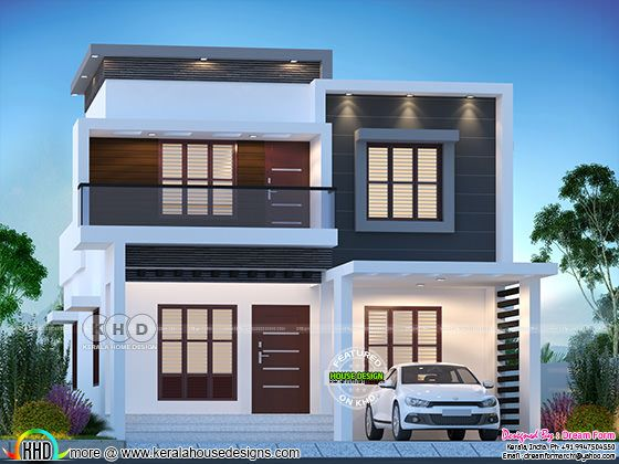 1775 sq-ft 4 BHK modern flat roof house
