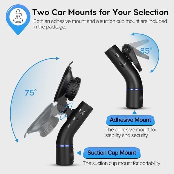 Blueskysea model B2W Dual Dash Cam Front and Inside