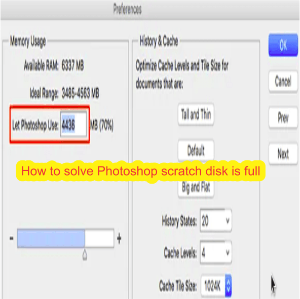 How to solve Photoshop scratch disk is full