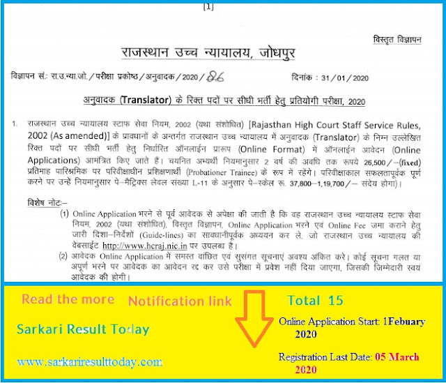 Apply online for the post of Rajasthan High Court Translator 2020-15 Post