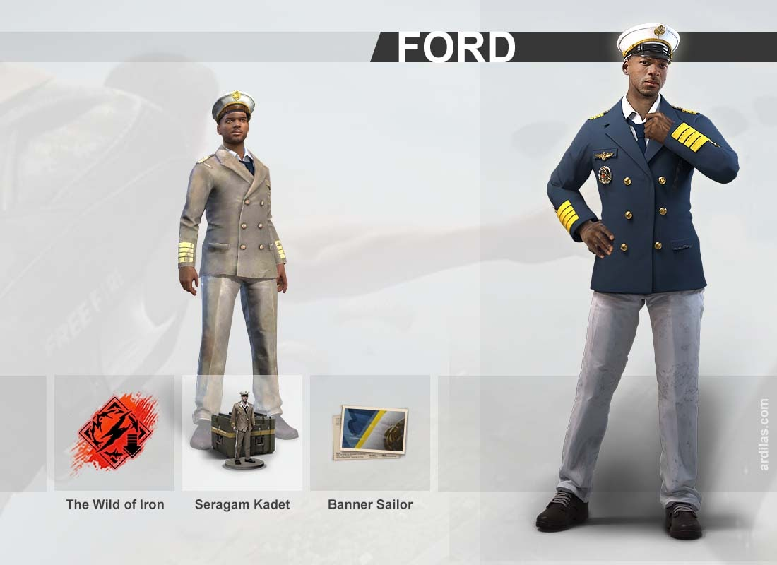 Kemampuan the wild of iron, seragam kadet, banner sailor - Ford - Karakter di Game Free Fire