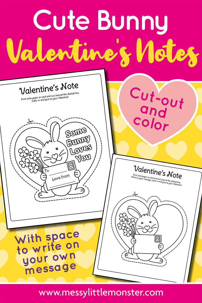 Printable Valentine Cards for kids with some bunny loves you message.