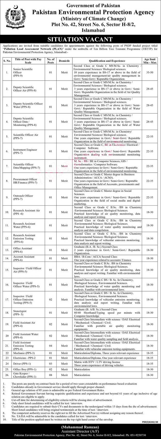 Pakistan Environmental Protection Agency Latest Jobs 2021