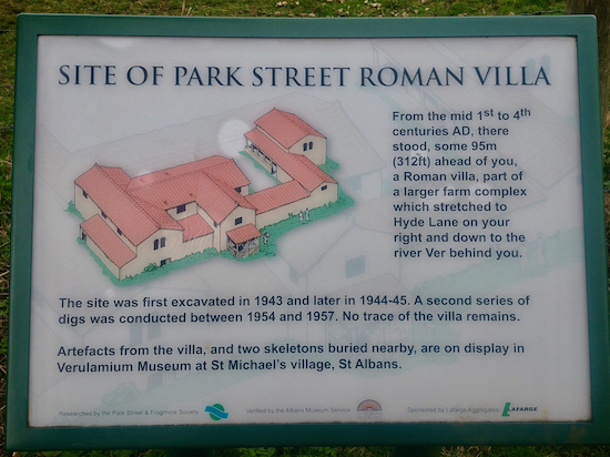 To the NE of footpath 33 between points 6 and 7 is the site of a Roman villa
