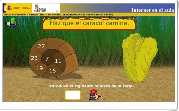 """""""Haz que el caracol camine"""" (Series numéricas de 1º y 2º de Primaria)"""