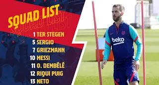 Barca announce 20-man squad for Sevilla tie with Dest, Araujo, Pjanic, Braithwaite all out