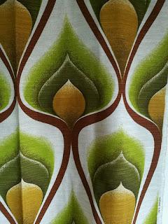 Original 70er Jahre Stoff *Panton Ära *Beige Grün Braun*Bogenmuster *1,20x1,20m