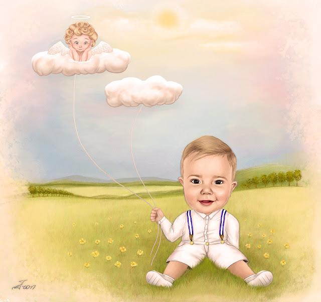 Desenho de um menino vestido de branco com anjo da guarda