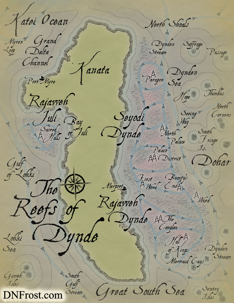 The Reefs of Dynde: royal metropolis of ornate coral www.DNFrost.com/maps #TotKW A map for Broken by D.N.Frost @DNFrost13 Part of a series.