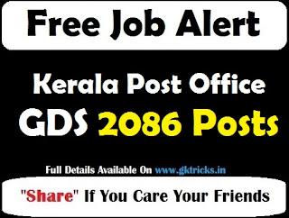 Kerala Post Office GDS 2086 Posts