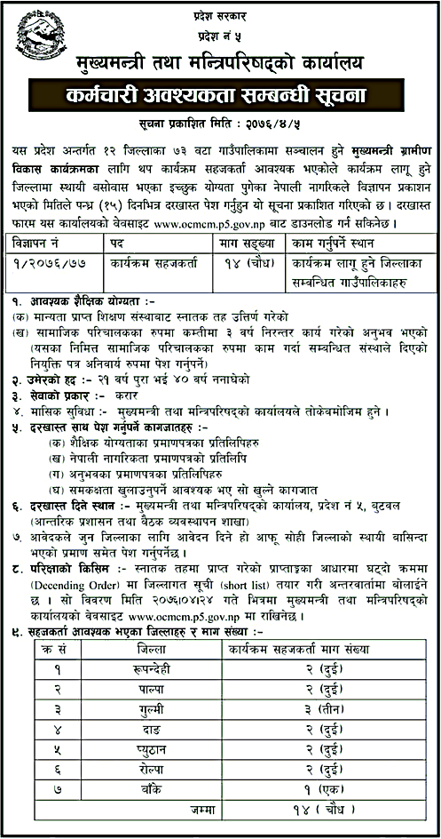 Government of Province 5 Vacancy Notice