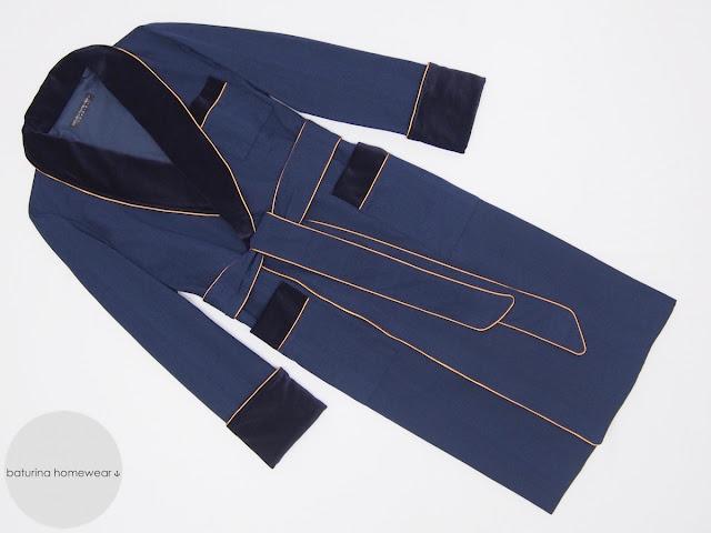 Gentlemans luxury dressing gown mens vintage robe velvet cotton silk