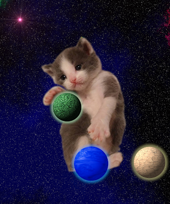 Kitten in space with three planets, some space dust, and yes, a supernova