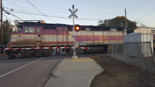 MBTA commuter rail crossing at Unions St one of the five street level crossing in Franklin