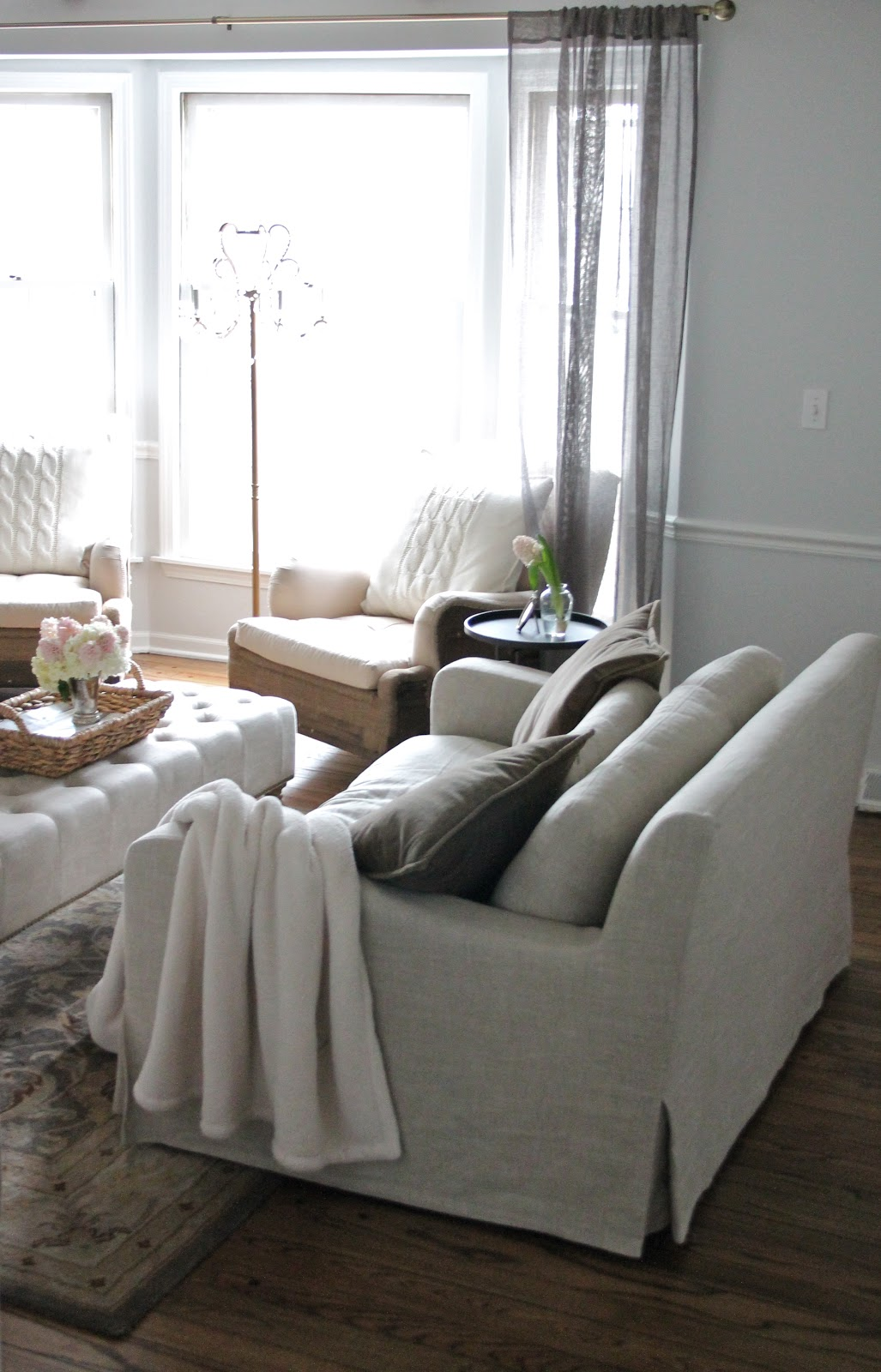Restoration Hardware Linen Sofa Craigslist Ashley Reclining With Drop Down Table Style The Wells Collection