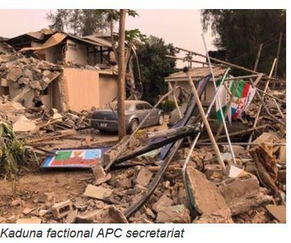 Demolished APC secretariat in Kaduna