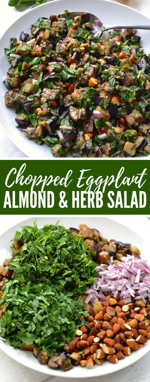 Chopped Eggplant, Almond & Herb Salad #vegan #healthy #salad #vegetables #veggies