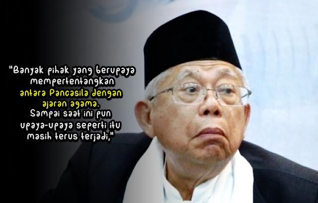 Ma'ruf Amin Menduga Ada Banyak Pihak Yang Mau Mempertentangkan Pancasila dengan Agama