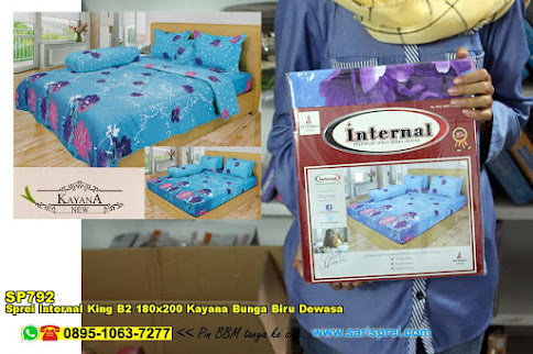 Sprei Internal King B2 180x200 Kayana Bunga Biru Dewasa