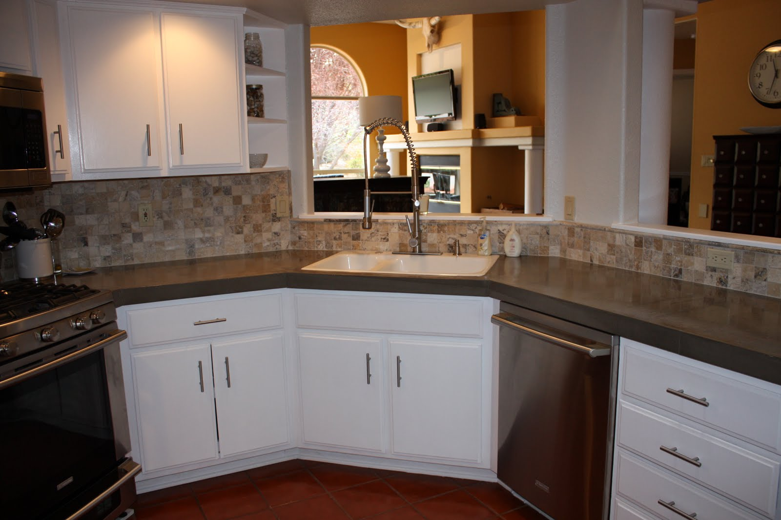 Finished Concrete Countertops Remodelaholic Quick Install Of Concrete Countertops