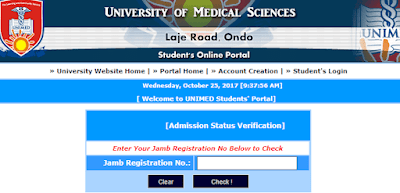 UNIMED, Ondo 2017/2018 1st Choice Admission List Out