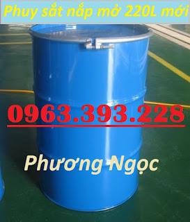Thùng phuy sắt nắp mở 220L mới, phuy sắt có đai, thùng phuy sắt đựng hóa chất Thung-phuy-sat-nap-ho