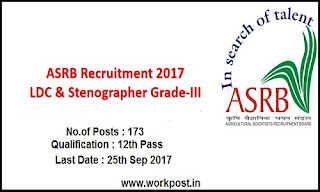 ASRB LDC Steno Grade III Recruitment 2017