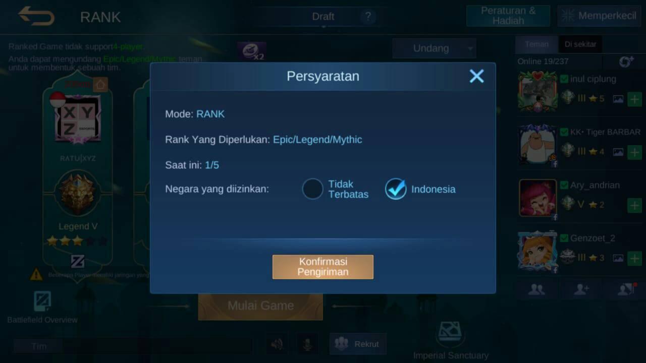 cara bertemu tim pro player ml