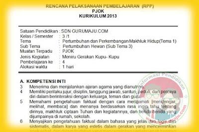 RPP PJOK SD Kelas 3 Semester 1 K13 Revisi 2018