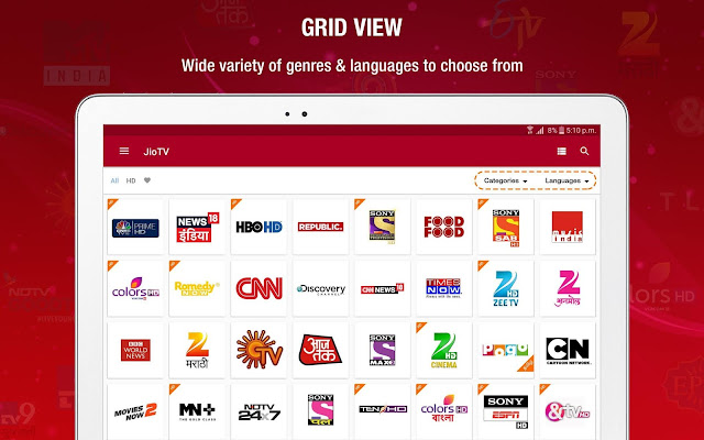 Jio tv features and options