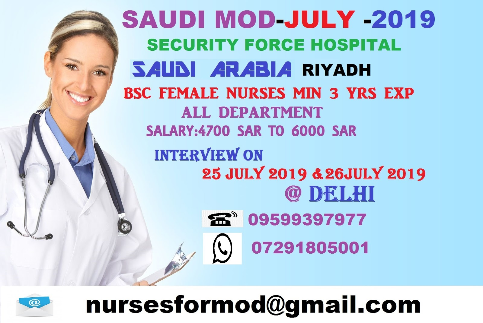 Staff Nurse Vacancy for Saudi ministry of defence, Security