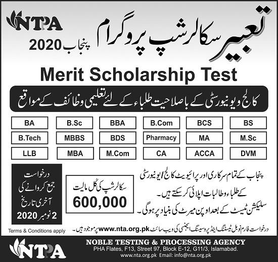 tabeer-scholarship-punjab-2020-application-form