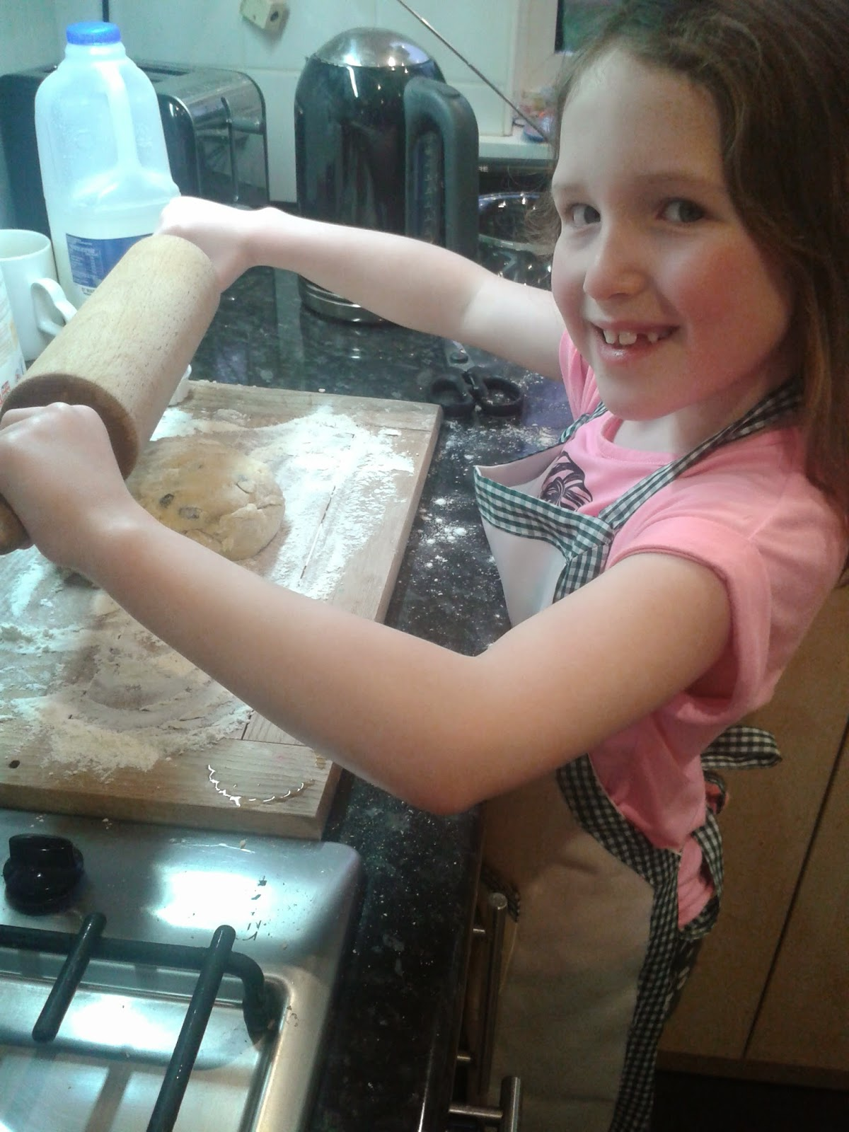 Welsh cakes recipe - Caitlin rolling out the dough
