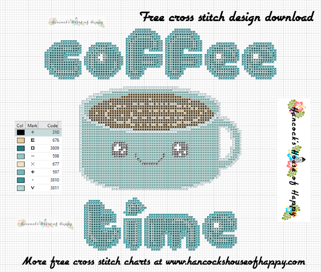 Coffee Week! Kawaii Cup of Coffee Coffee Time Cross Stitch Pattern Free to Download