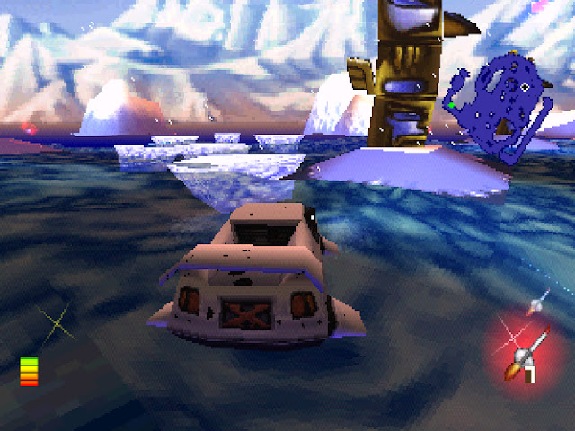 A boat that looks like a car is driving across the ocean with glaciers in the distance.