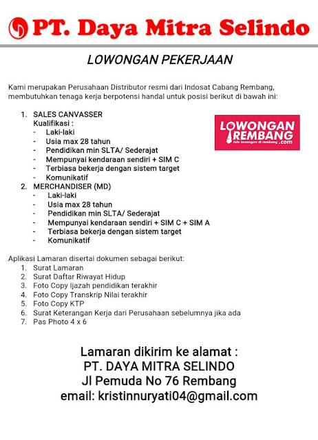Lowongan Kerja Sales Cavasser Dan Merchandiser (MD) PT Daya Mitra Selindo Indosat Ooredoo Rembang