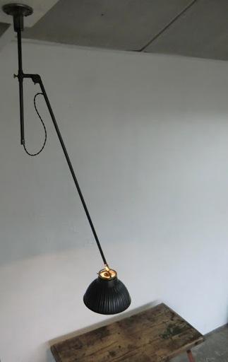 wo and w collection lustre bras articul pivotant patin noir vintage r flecteur mercuris. Black Bedroom Furniture Sets. Home Design Ideas